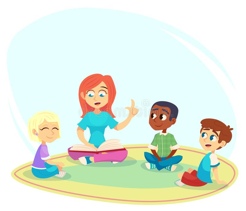 Female teacher read book, children sit on floor in circle and listen to her. Preschool activities and early childhood education. C royalty free illustration