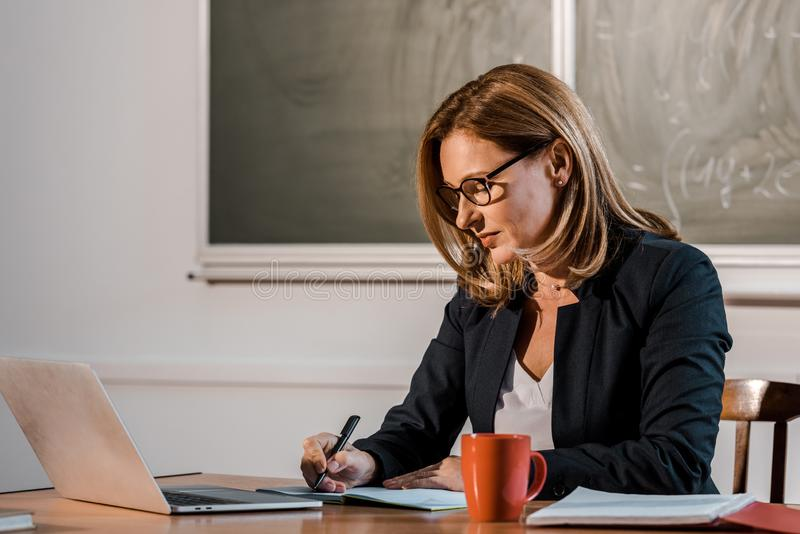 Female teacher sitting at computer desk and writing in notebook during lesson stock photos
