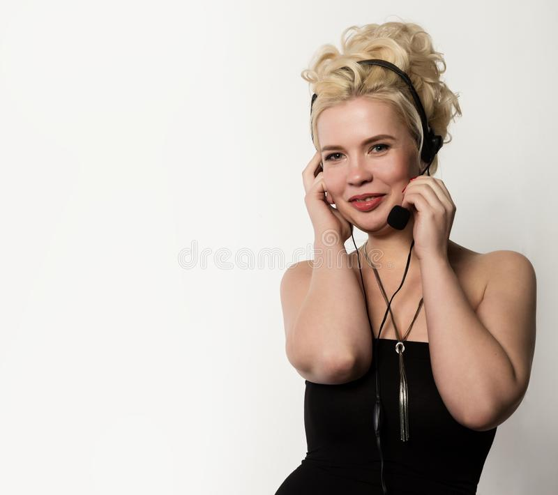 Female technical support call center dispatcher. free space for your text royalty free stock photo