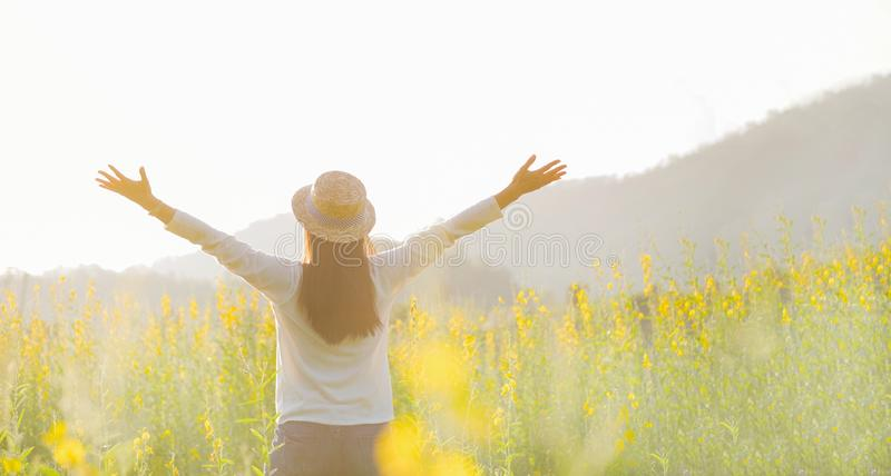 Female teen girl stand feel freedom and relaxation travel outdoor. royalty free stock images