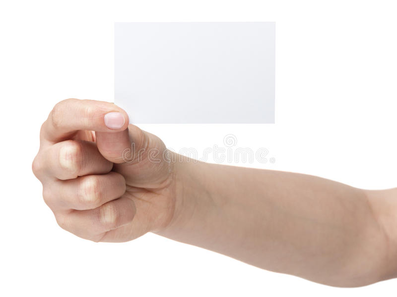 Download Female Teen Hand Holding Blank Identity Card Royalty Free Stock Images - Image: 30615739