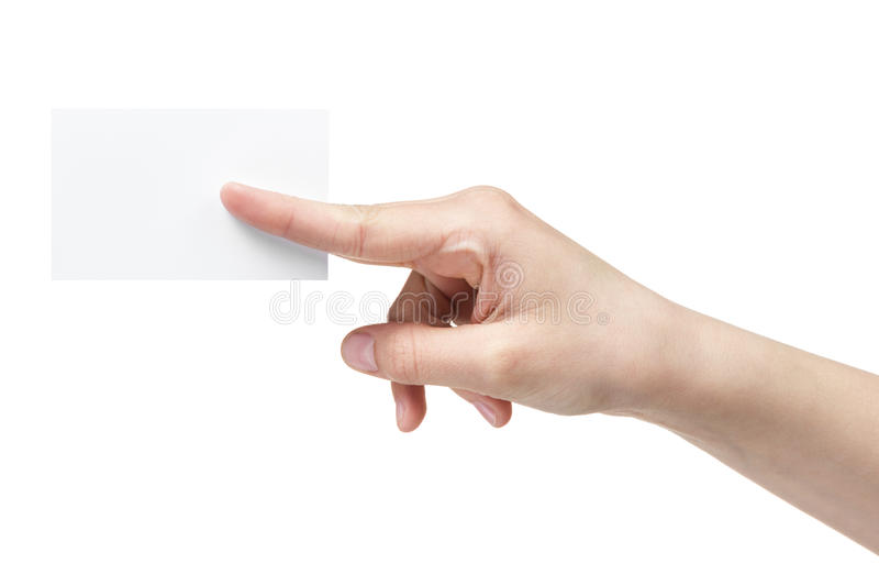 Female Teen Hand Holding Blank Paper Card With Two Fingers Royalty Free Stock Photos