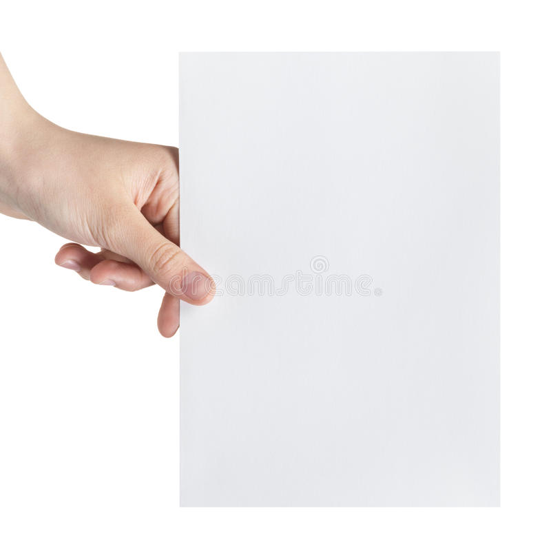 Female teen hand holding blank paper a5 sheet royalty free stock photo