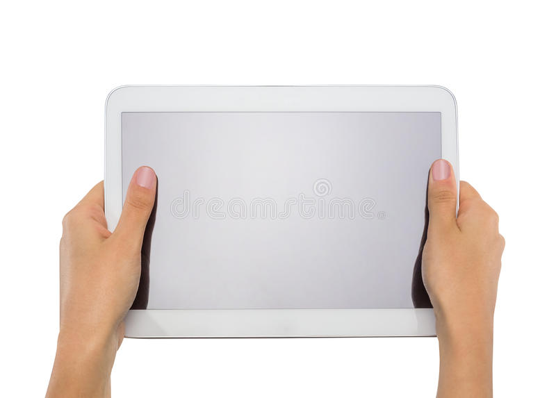 Female teen hands holding generic tablet pc royalty free stock photo