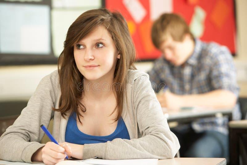 Female Teenage Student Studying royalty free stock photography
