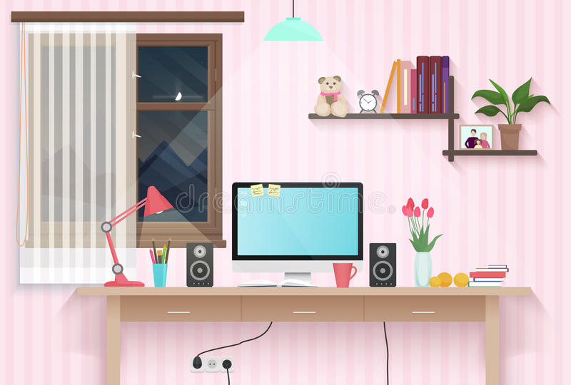 Female teenager room with workplace. Sweet girl style room interior design with furniture. Female teenager room with workplace. Sweet girl style room interior vector illustration