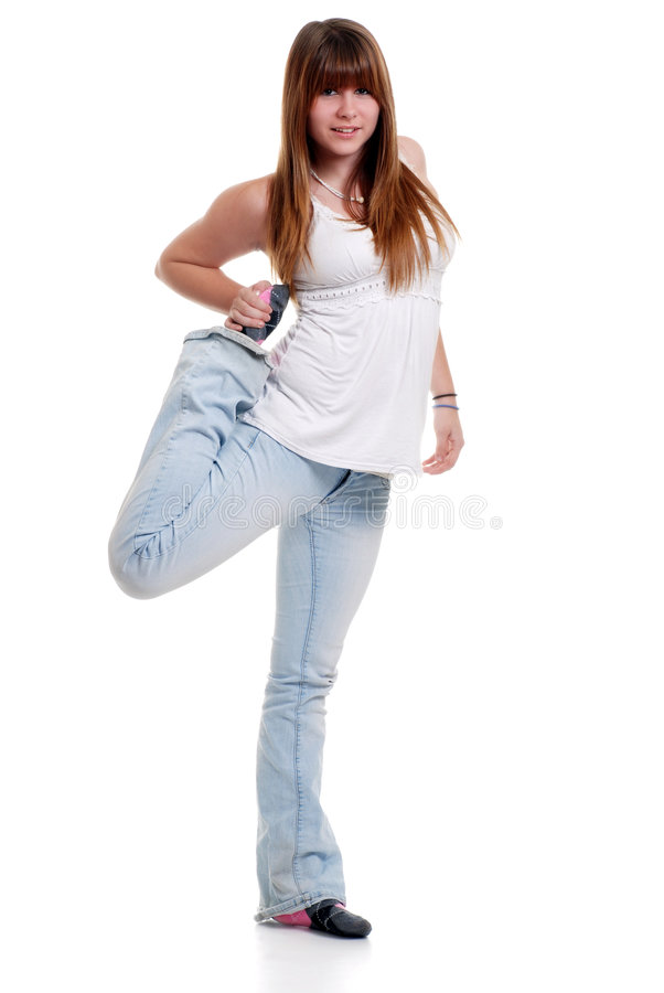 Female teenager stretching royalty free stock photos
