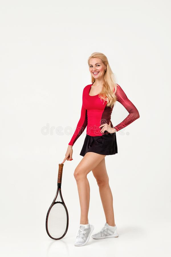 Female tennis player with tennis racket. Isolated on white background royalty free stock photos