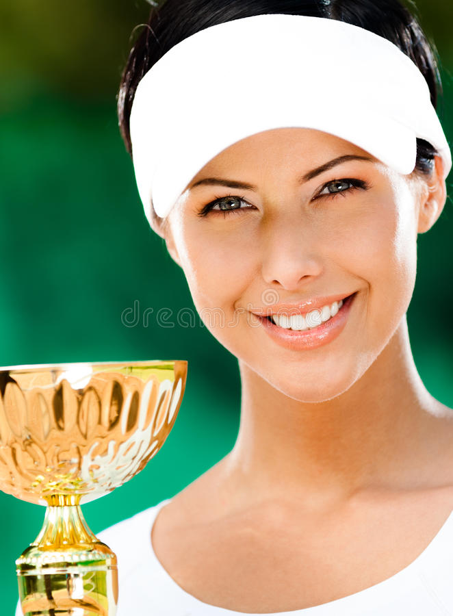 Female tennis player won the cup