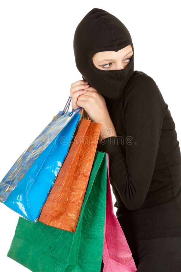 Download Female Thief In Black Clothes And Balaclava Stock Photo - Image: 21341336
