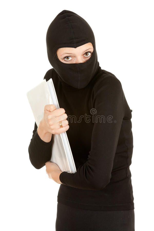 Female thief steal documents