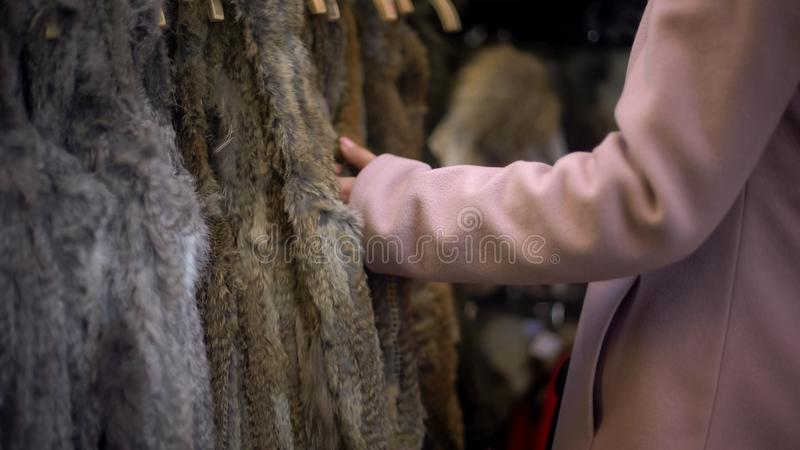 Female touching coats at fair, fur free retailer, fighting for animals rights. Stock photo stock images