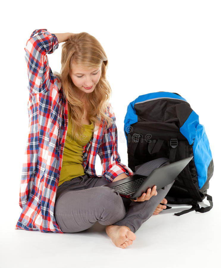 Female Tourist With Backpack Laptop Stock Photo