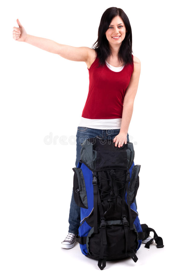 Download Female Tourist With Backpack Stopping Car Stock Image - Image of isolated, equipment: 15767761