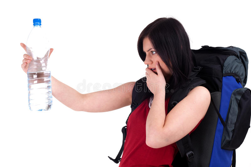Download Female Tourist With Bottle Of Water Stock Photo - Image of human, rucksack: 15767874