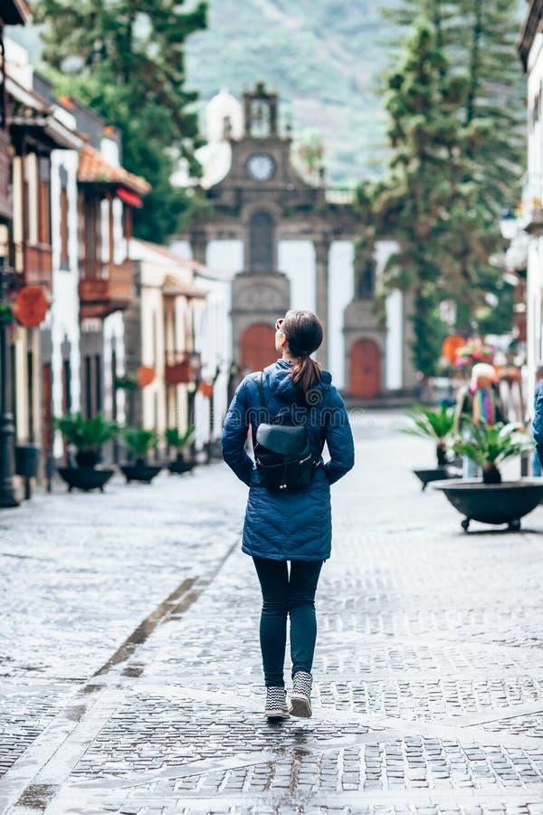 Female tourist enjoy small beautiful spanish town stock images
