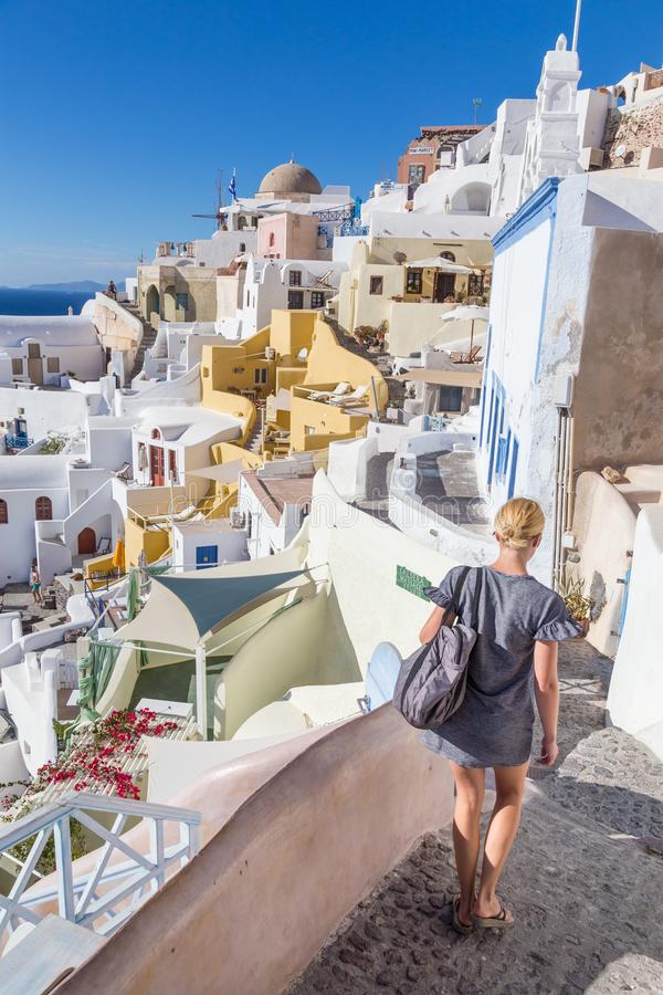 Oia village at sunset, Santorini island, Greece. stock image