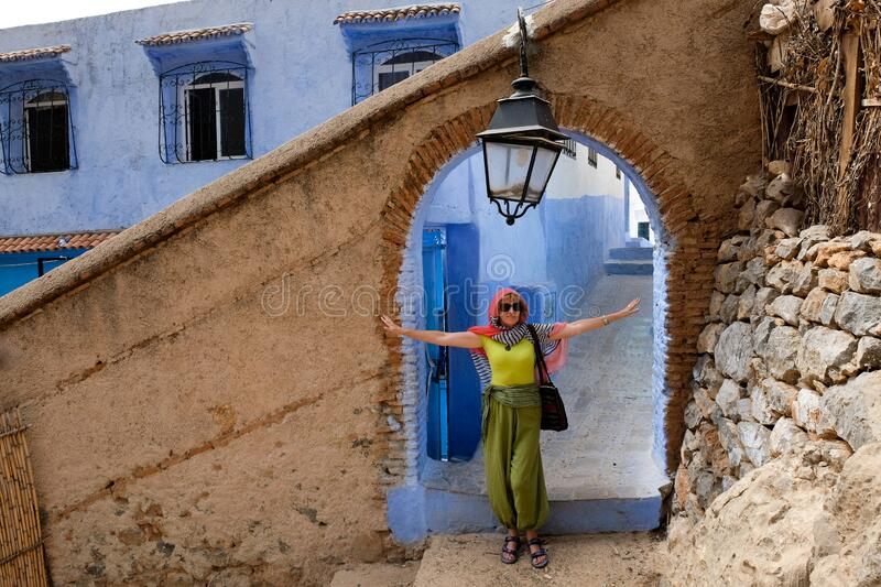 Ancient gate to the blue city of Chefchaouen,Morocco stock photo