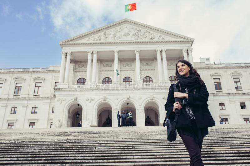 Female tourist standing in front of the Parliament of Portugal, Assembly of the Republic stock photos