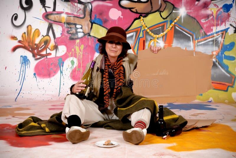 Female Tramp urban graffiti royalty free stock image
