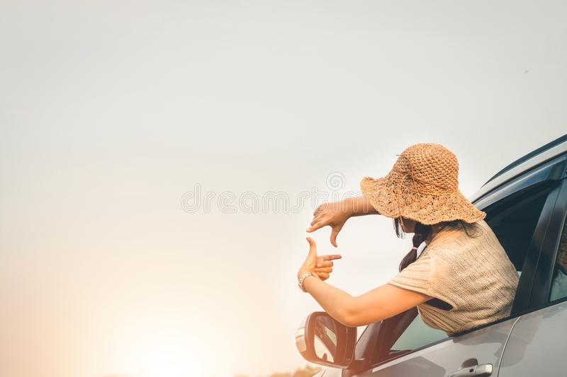 Female travelers travel with cars in the midst of peaceful nature, Traveling of tourists only to find the beauty of nature royalty free stock photos