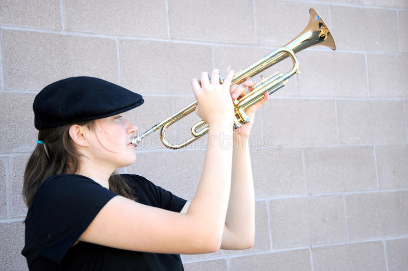 Download Female trumpet player. stock photo. Image of musician - 26536106