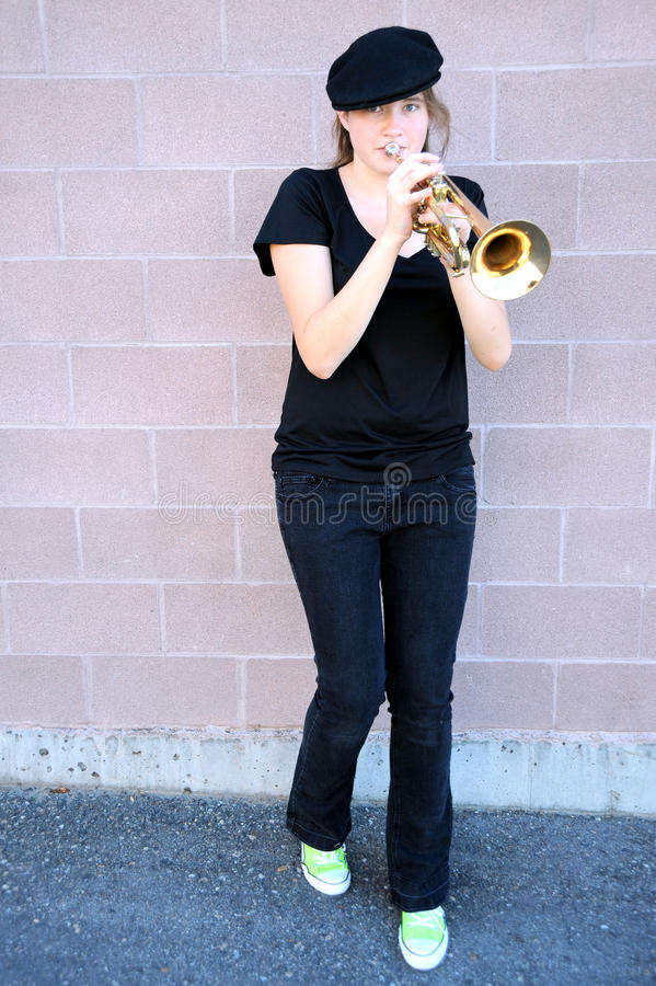 Download Female trumpet player. stock image. Image of practice - 26536123