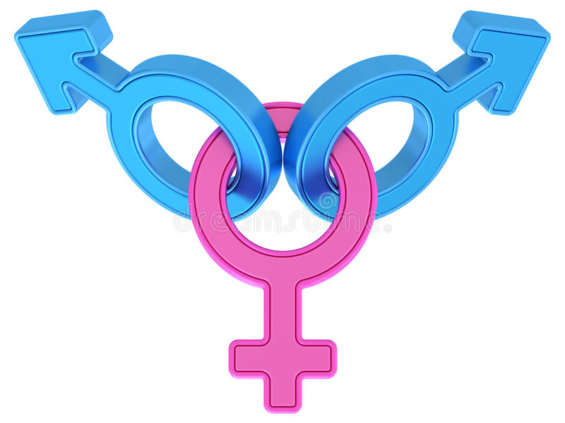 Female and two male gender symbols chained together on white. Background. High resolution 3D image vector illustration