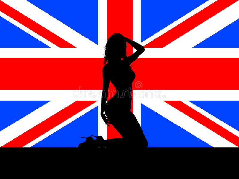Female On Union Jack Royalty Free Stock Images