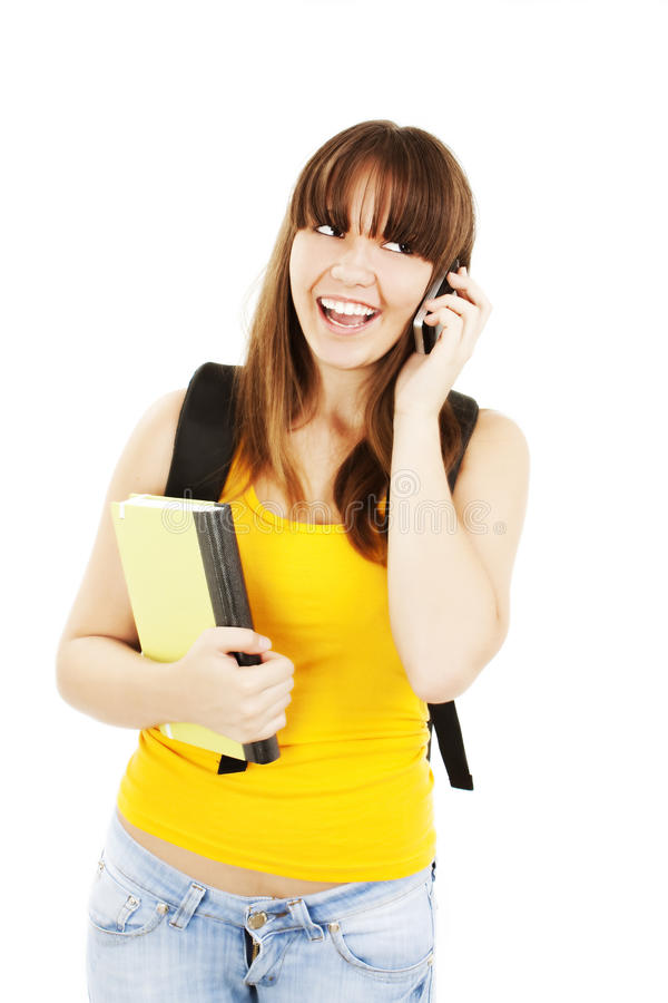 Female university student talking in mobile phone stock images