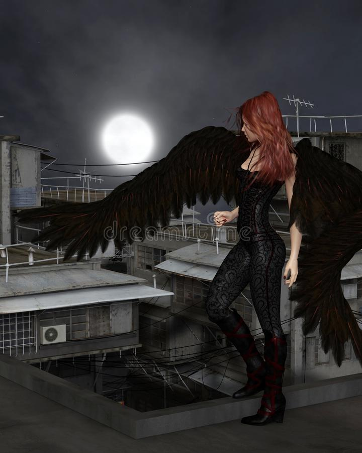 Free Female Urban Guardian Angel, Standing Stock Image - 58651951