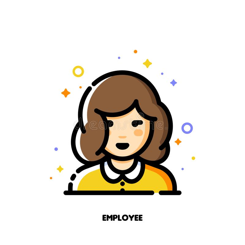 Female user avatar of employee. Icon of cute girl face. Flat filled outline style. Pixel perfect 64x64. Editable stroke. Female user avatar of employee. Icon of vector illustration