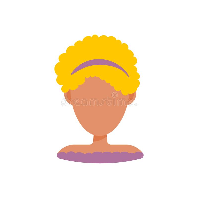 Female user avatar profile picture icon. Isolated vector illustration in flat design people character. Blond woman stock illustration