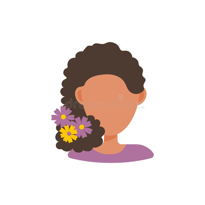 Female user avatar profile picture icon. Isolated vector illustration in flat design people character. Woman with flowers in hear royalty free illustration