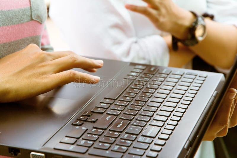 Female using laptop royalty free stock image