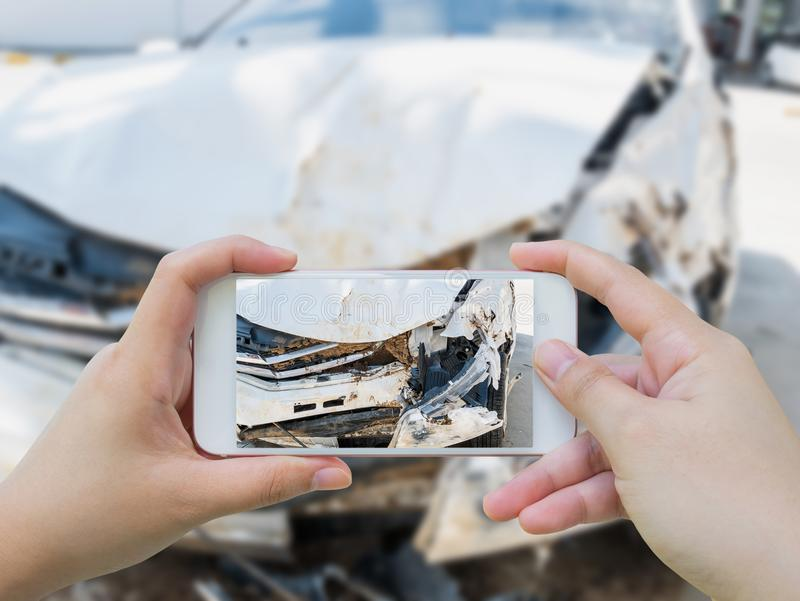 Taking photo of the car crash accident damage stock photos