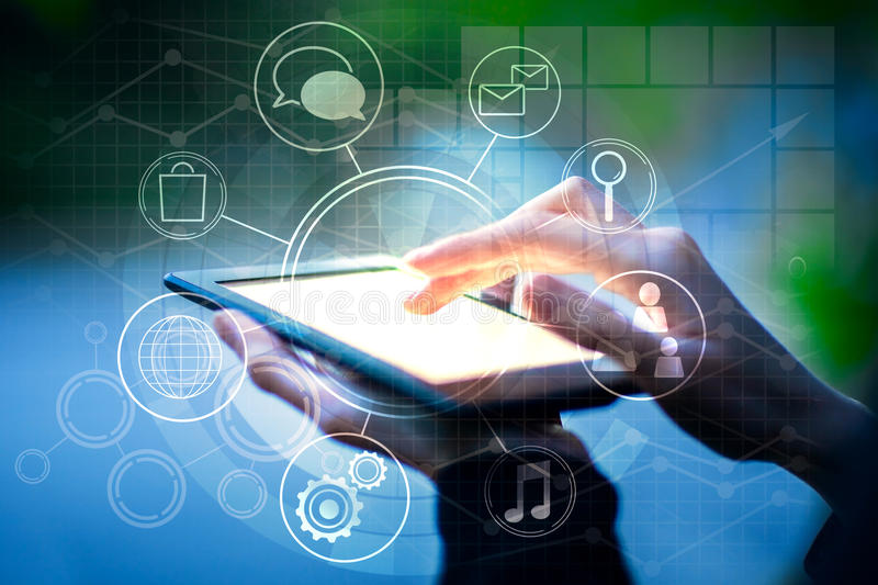 Female using tablet with business diagram. Close up of female hands using tablet with creative circular business diagram. Success concept stock image