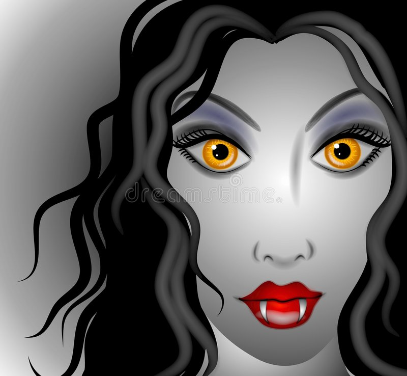 Female Vampire Face. A clip art illustration of a female vampire with long black flowing hair, yellow evil eyes, red lips and fangs vector illustration