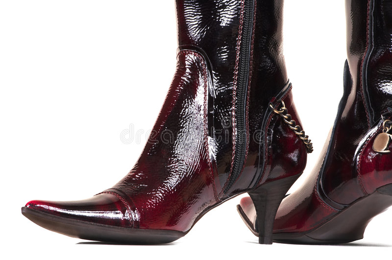 Female varnish boots royalty free stock images