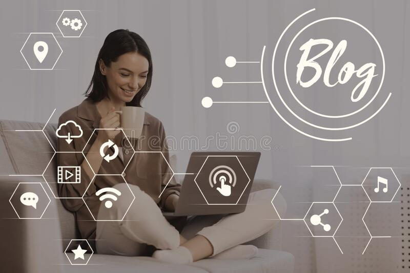 Female video blogger broadcasting online via laptop at home, collage with media icons on virtual screen. Female video blogger broadcasting online via laptop at royalty free stock photos