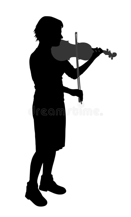 Female violinist. Isolated on white background. EPS file available stock illustration