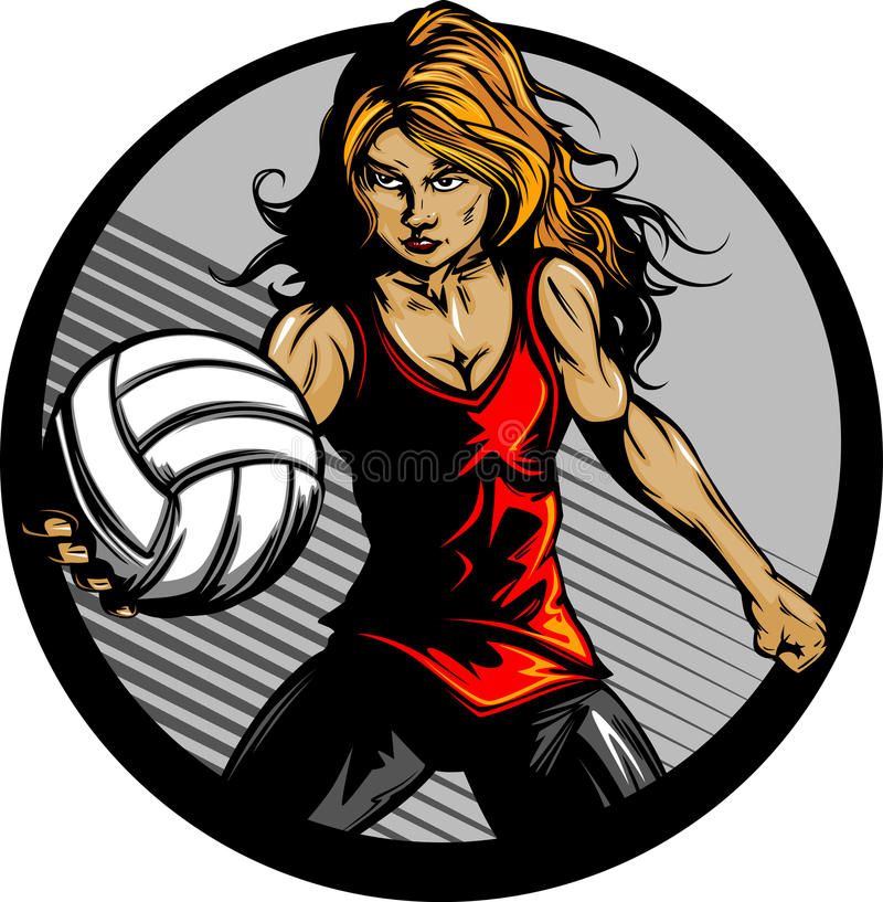 Female Volleyball Player Cartoon Stock Photos