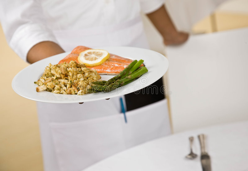 Download Female Waitress Offers Plate Of Food Stock Image - Image of working, midsection: 6605009