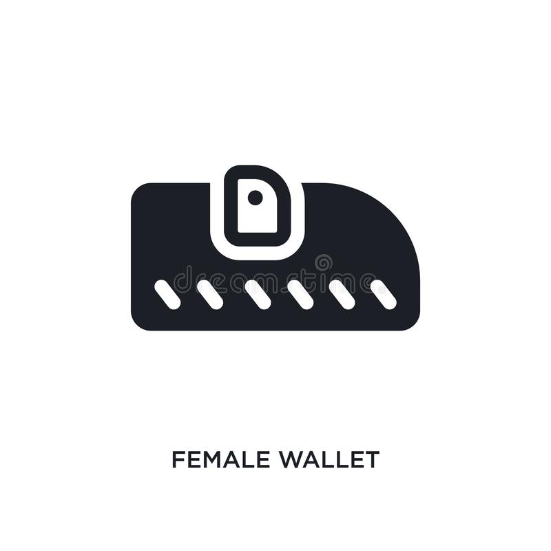 female wallet isolated icon. simple element illustration from woman clothing concept icons. female wallet editable logo sign vector illustration