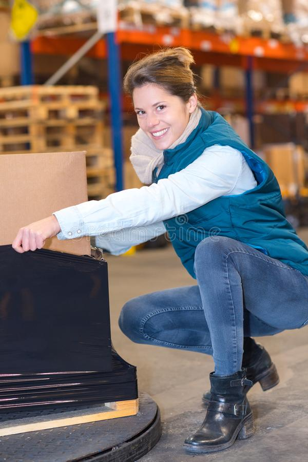 Female warehouse worker in warehouse stock photo