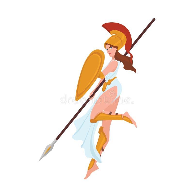 Female warrior, Greek goddess, Amazon or gladiator. Woman holding spear and shield isolated on white background royalty free illustration