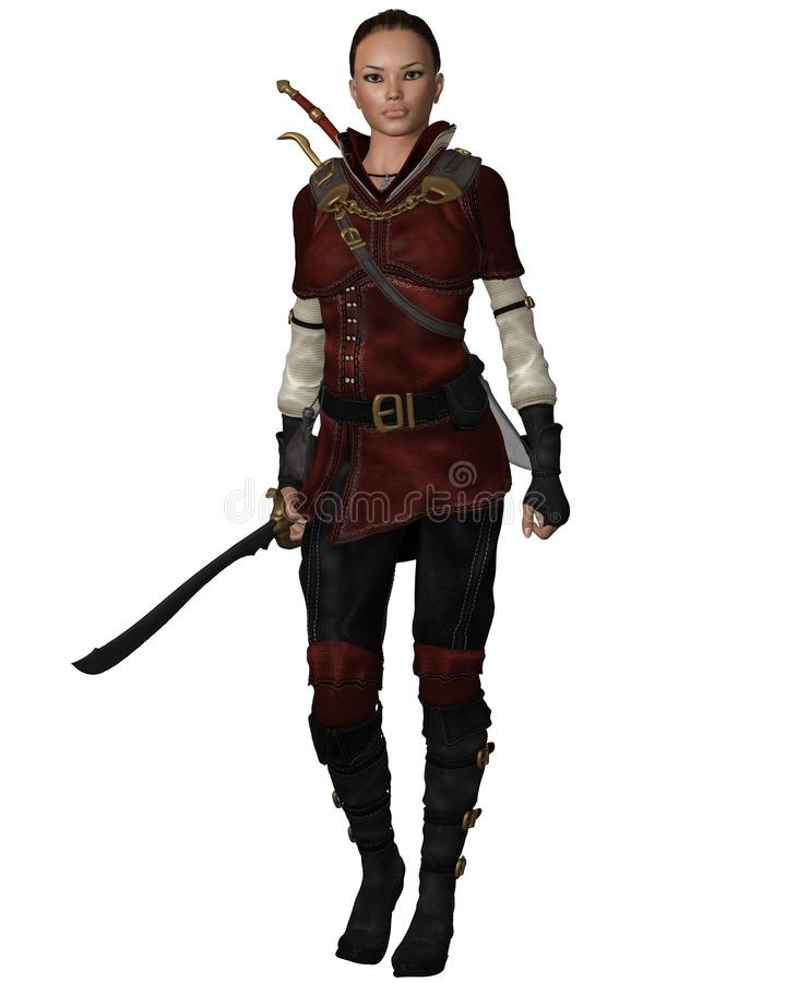 Female Warrior in Leather Armour. Lightly armoured female warrior in leather armour carrying a sword, 3d digitally rendered illustration vector illustration