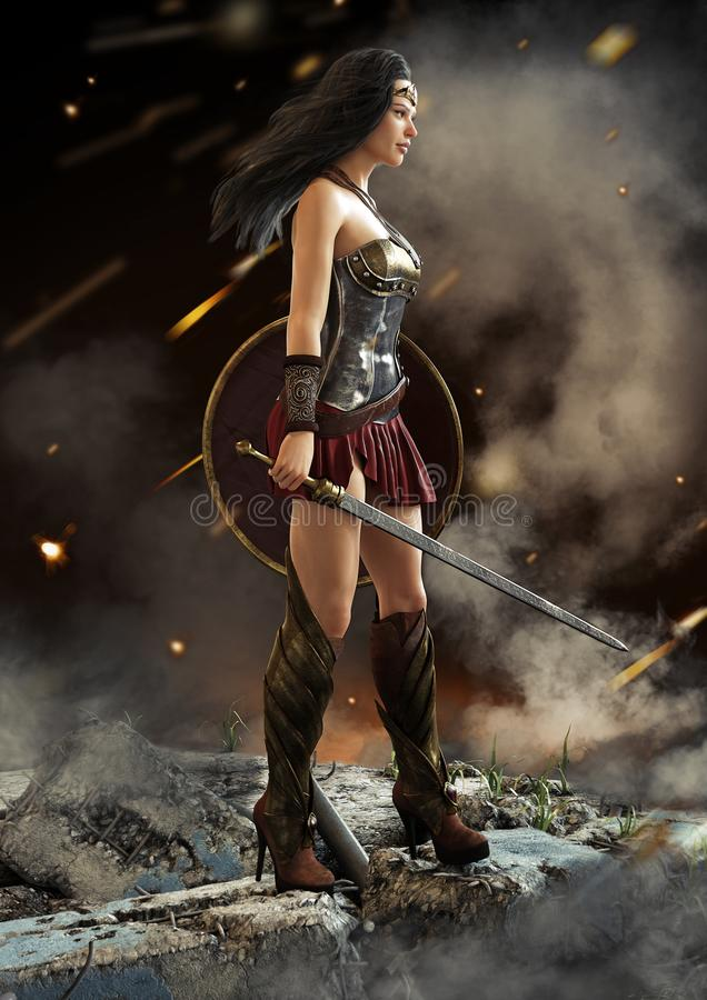 Female warrior looking on after a battle with sword and shield in hand . Fantasy 3d rendering royalty free illustration