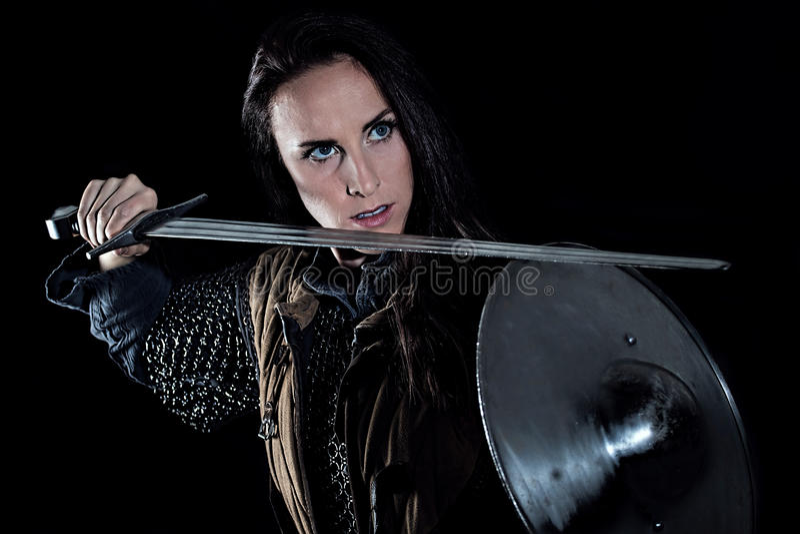Female Warrior Medieval Fantasy Knight. Historical portrait of Female Warrior Medieval Fantasy Knight royalty free stock photo