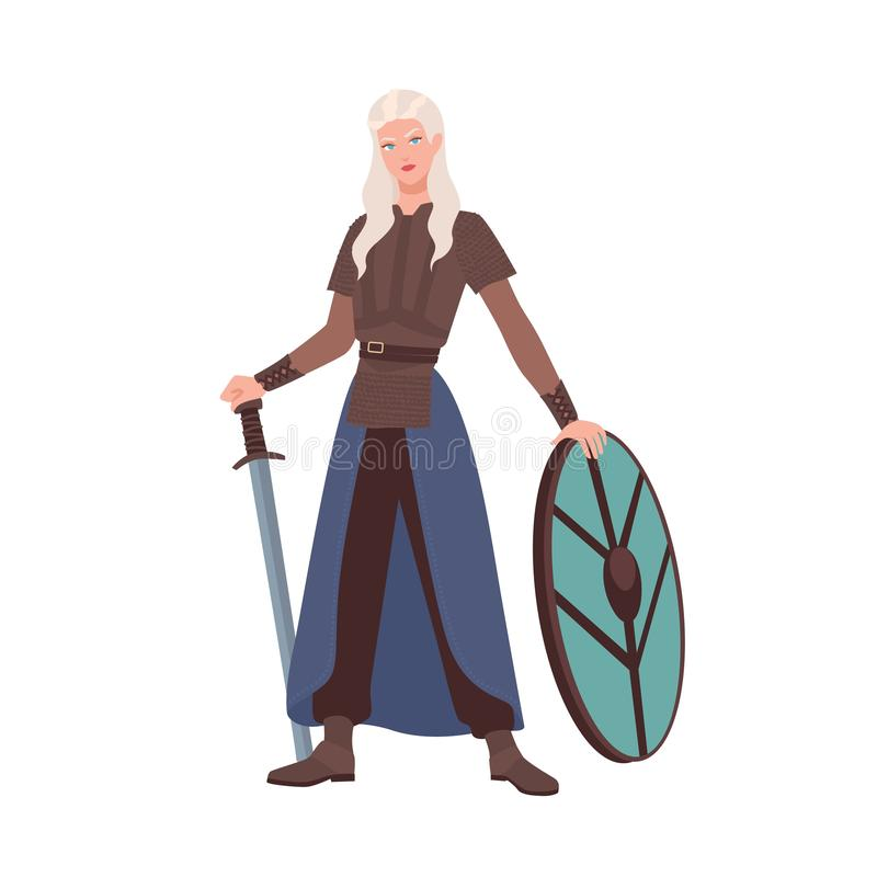 Female warrior or medieval knight holding sword and shield isolated on white background. Beautiful maiden with long. Blonde hair wearing armor from middle ages royalty free illustration